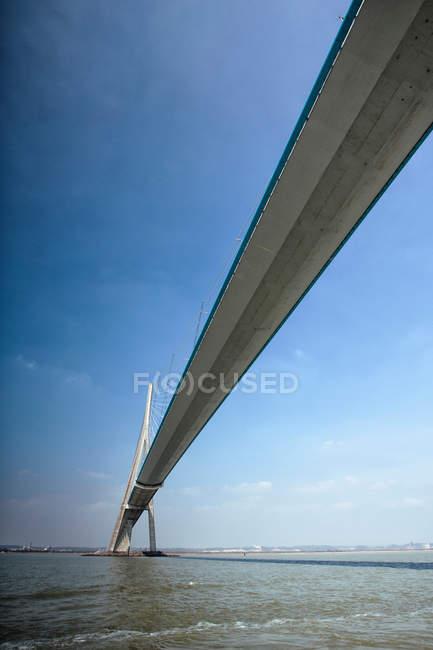 Підвісний міст архітектури, де Normandie Пон, дорога вантовий міст — стокове фото