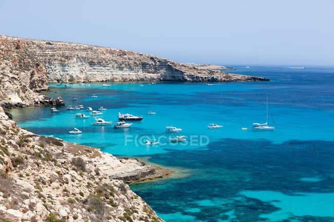 Anchored yachts on Mediterranean Sea — Stock Photo