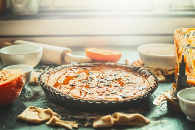 Torta dolce preparato per la cottura — Foto stock
