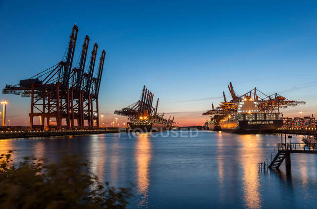 Container terminal with container ship — Stock Photo