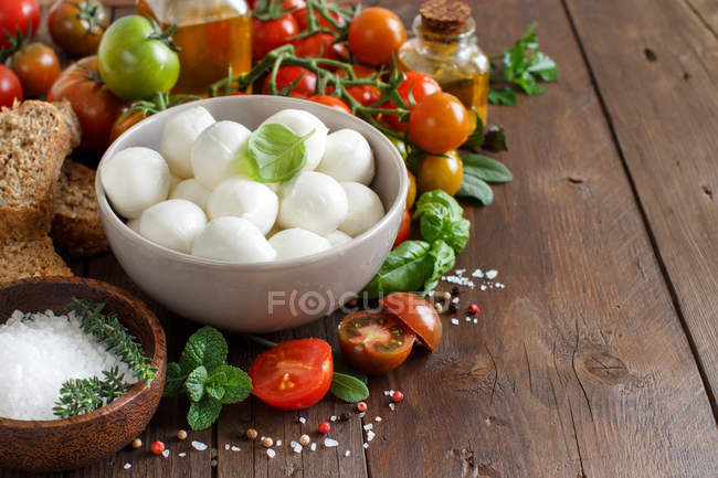 Food ingredients for caprese salad — Stock Photo