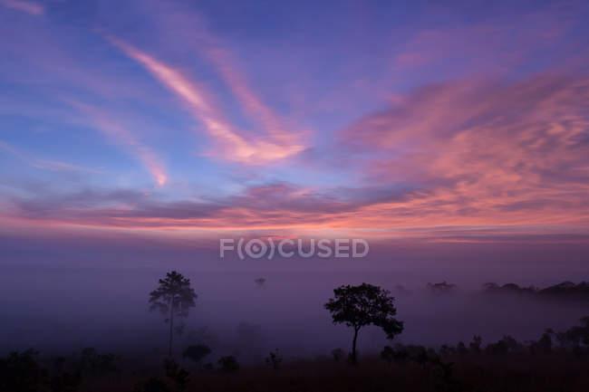 Vale da montanha durante o nascer do sol — Fotografia de Stock