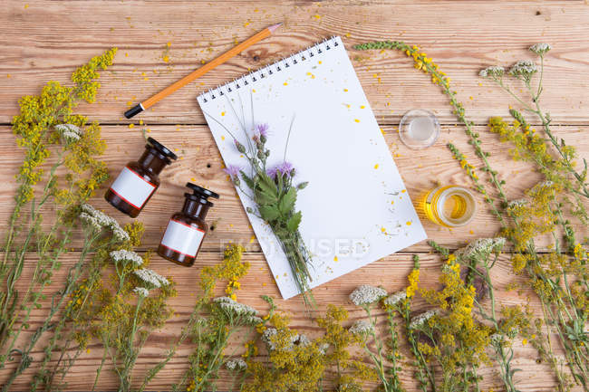Top view of various herbs, bottles with oils and blank notebook — Stock Photo