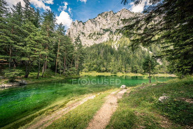Landscape with mountains and lake — Stock Photo