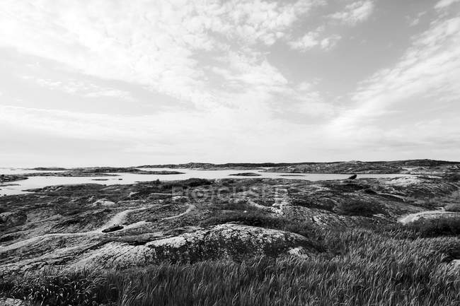 Landschaft mit grasbewachsenen Felsenufer — Stockfoto