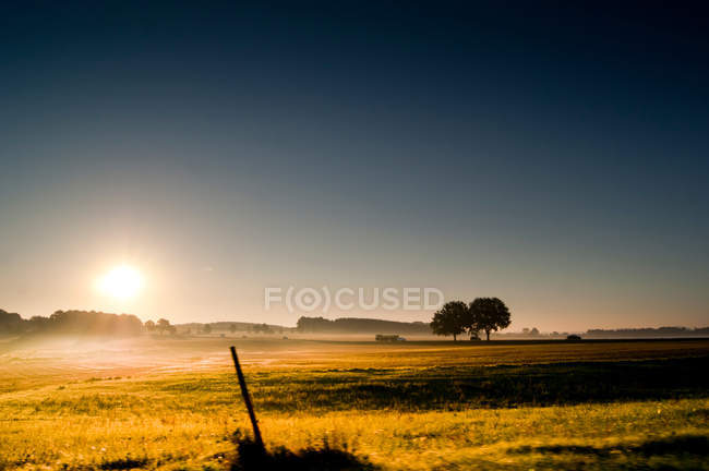 Nature landscape with scenic field view at sunset time — Stock Photo