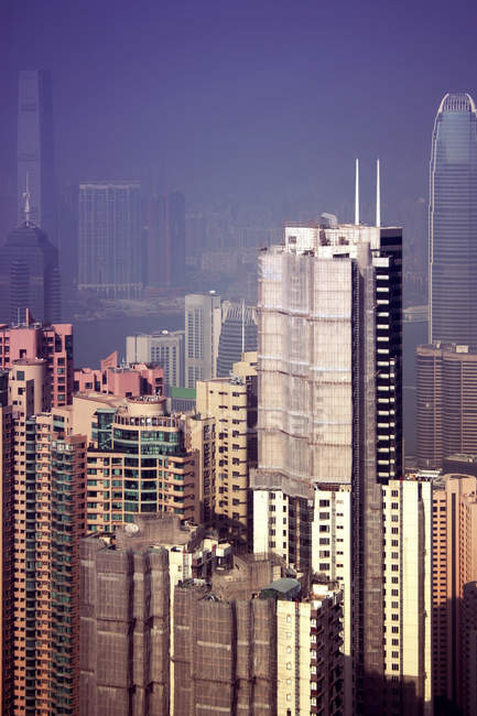 Vista aérea da metrópole moderna Hong Kong — Fotografia de Stock