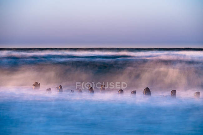 Scenic view of Baltic sea at sunset in Germany, long exposure — Stock Photo