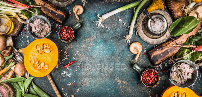 Seasonal cooking with various vegetables — Stock Photo