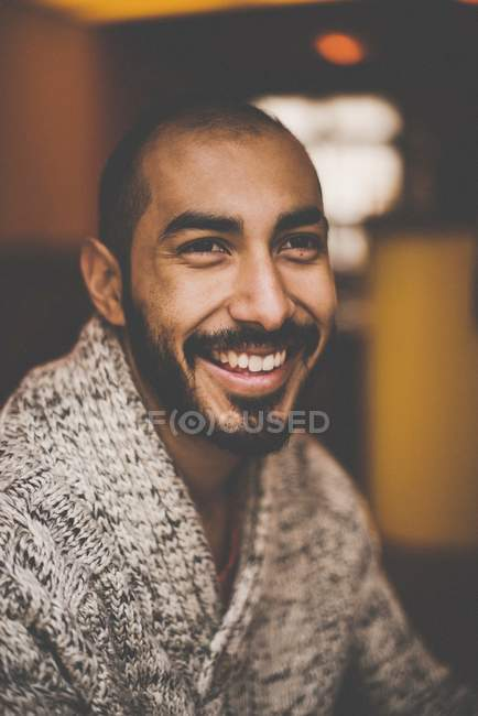 Positive bearded man in warm wool sweater — Stock Photo