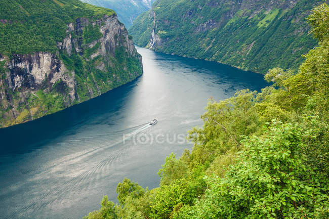 High angle view of a river surrounded by nature in Norway — Stock Photo