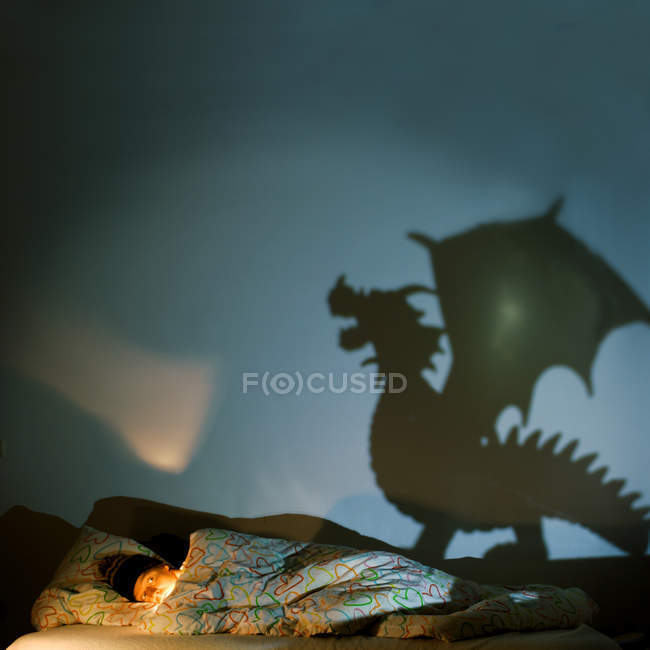 A man hiding in bed from a shadow of a dragon — Stock Photo