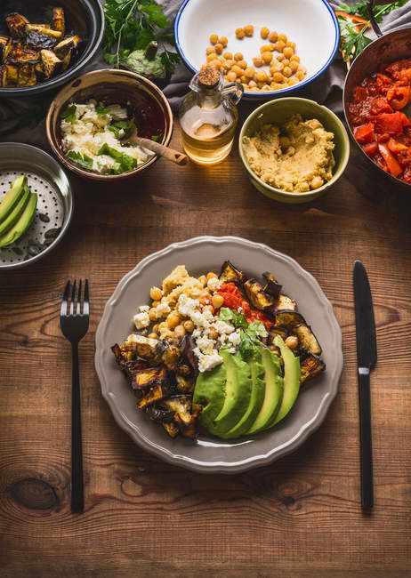 High angle view of healthy food on a table — Stock Photo