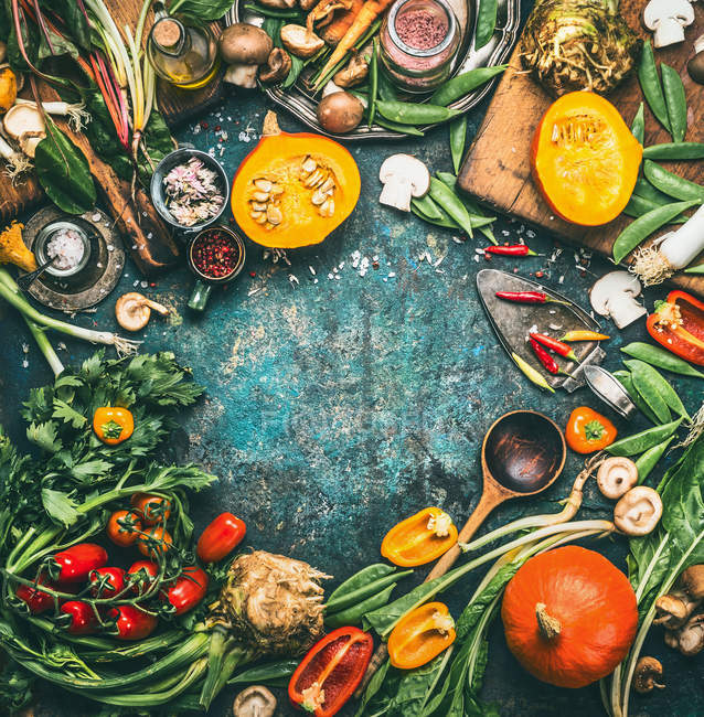 High angle view of multi colored vegetables — Stock Photo