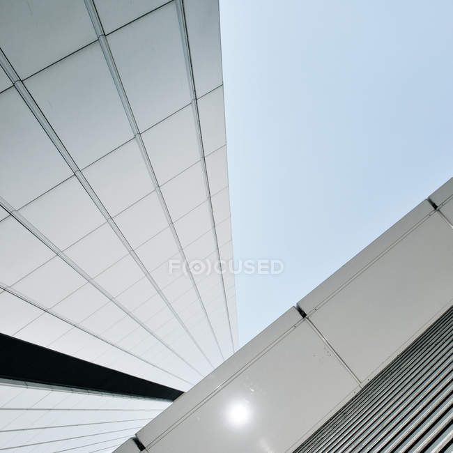 Low angle view on white modern building construction — Stock Photo