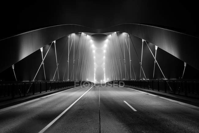 Black and white shot of a bridge — Stock Photo