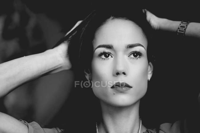 Elegant asian woman with necklace, black and white — Stock Photo