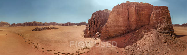 Panoramic view of rock formations in desert in Asia — Stock Photo