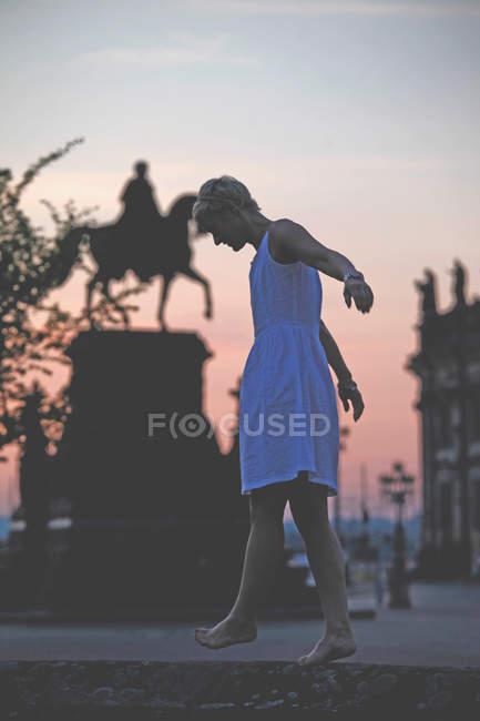 Vue arrière de la fille de silhouette contre des arbres dans la ville — Photo de stock