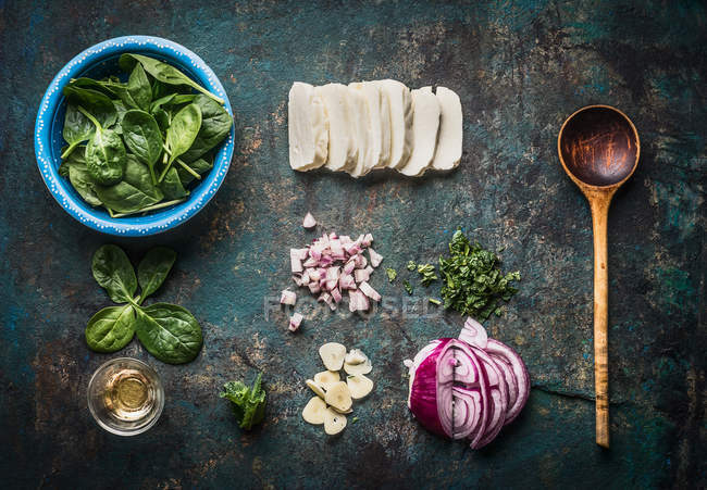 Various fresh cooking ingredients, top view — Stock Photo