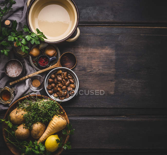 High angle view of fresh food composition over wooden table — Stock Photo