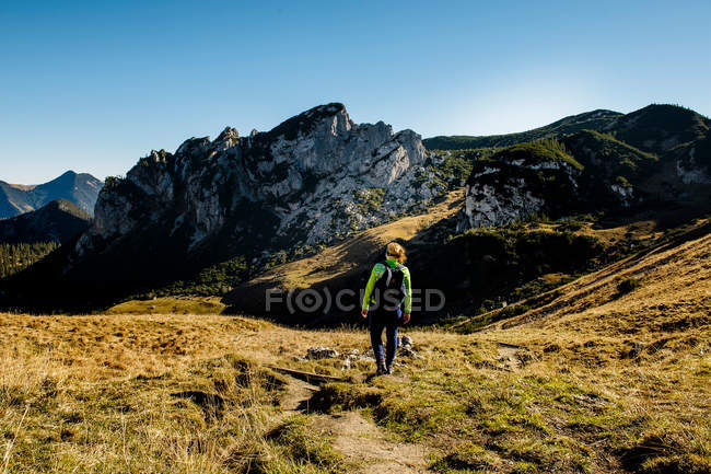 Back view of woman walking in mountains valley - foto de stock