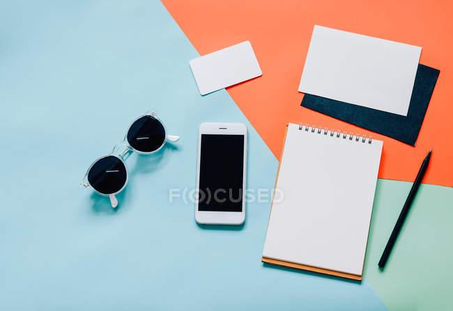 Reception area di lavoro creativo stile piatto laici — Foto stock