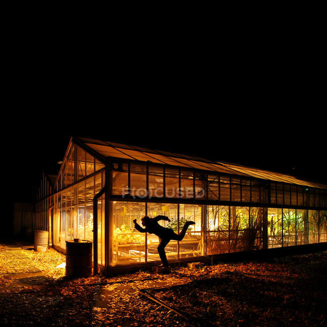 Silhouette of a person standing by an illuminated greenhouse at night — Stock Photo