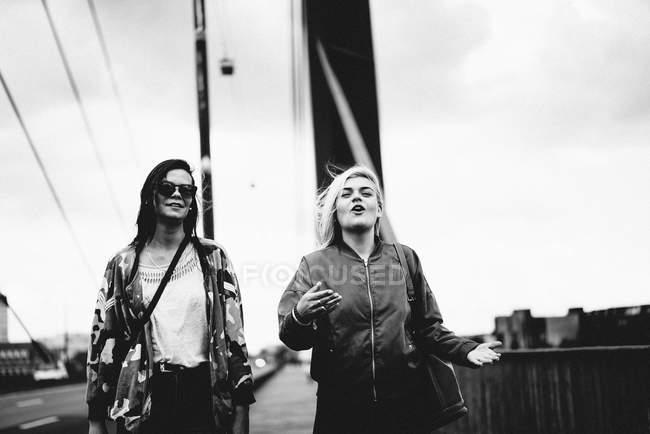 Besten Sie zwei Mädchen, die Freunde, die zu Fuß in die Stadt — Stockfoto