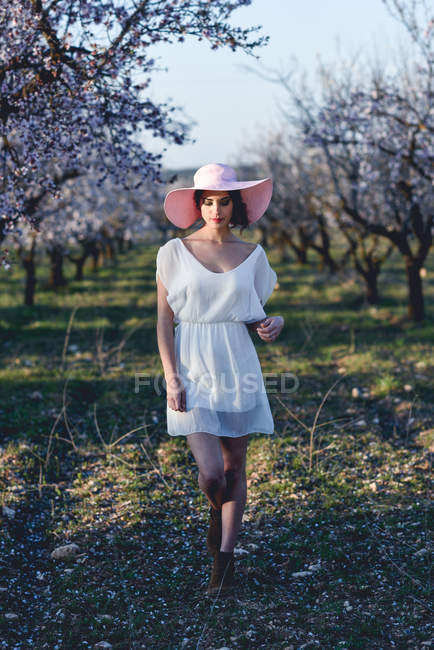Young woman in almond flowered field in spring time, woman in dress and hat — Stock Photo