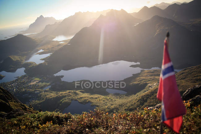Scenic nature view of the mountains on a sunny day in Norway — Stock Photo