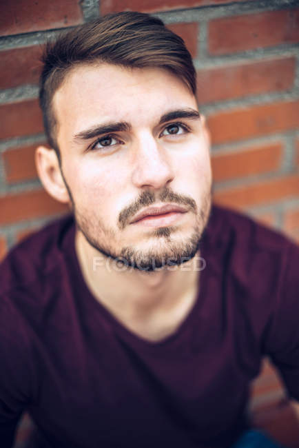 Handsome young Caucasian man with stubble — Stock Photo