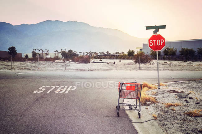 Abandoned shopping cart on a street at sunset. — Stock Photo