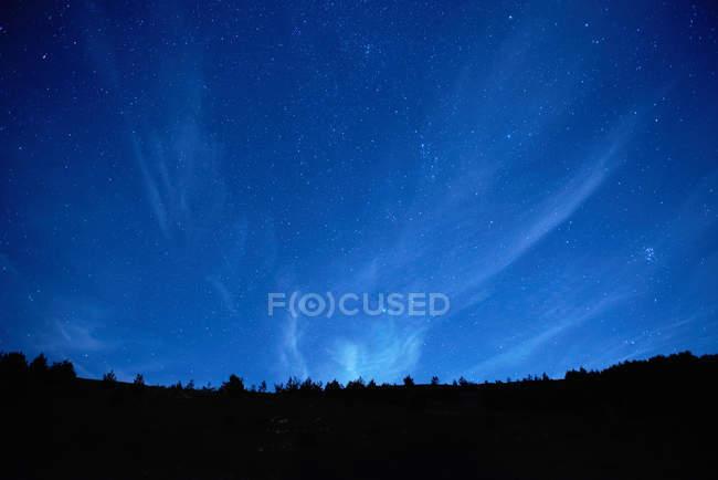 Vista de ángulo bajo del horizonte con el azul del cielo en la noche - foto de stock