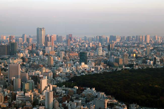Vue d'angle élevé des bâtiments de la ville de Tokyo — Photo de stock