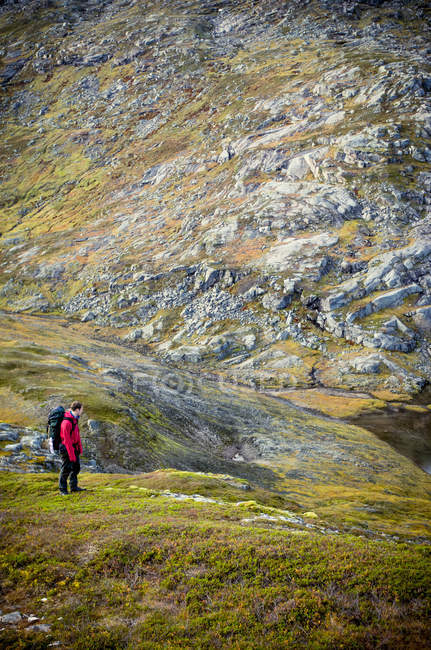 Full length rear view of a man hiking in mountains in Scandinavia — Stock Photo