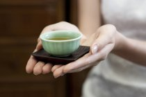 Close-up of female hands holding cup of tea — Stock Photo