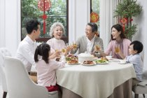 Family having Chinese New Year dinner — Stock Photo