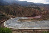 Winding road and Danxia landform in Zhangye, China — Stock Photo