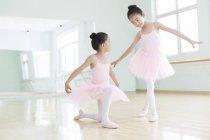 Chinese girls practicing ballet dance — Stock Photo