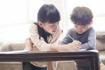 Irmãos asiáticos estudando juntos em casa — Fotografia de Stock