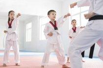Китайские дети практикующих тхэквондо позицию с инструктором — стоковое фото
