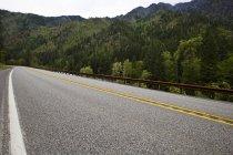 Vue de la route à travers les montagnes avec la forêt — Photo de stock