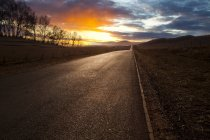 Country road with scenic sunset view in Bashang Plateau, China — Stock Photo