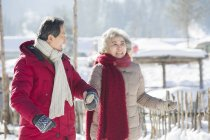 Chinese senior walking hand in hand outdoors — Stock Photo