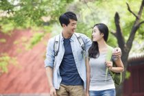 Chinese couple of tourists visiting Lama Temple — Stock Photo