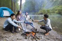 Chinese friends sitting around campfire with beer — Stock Photo