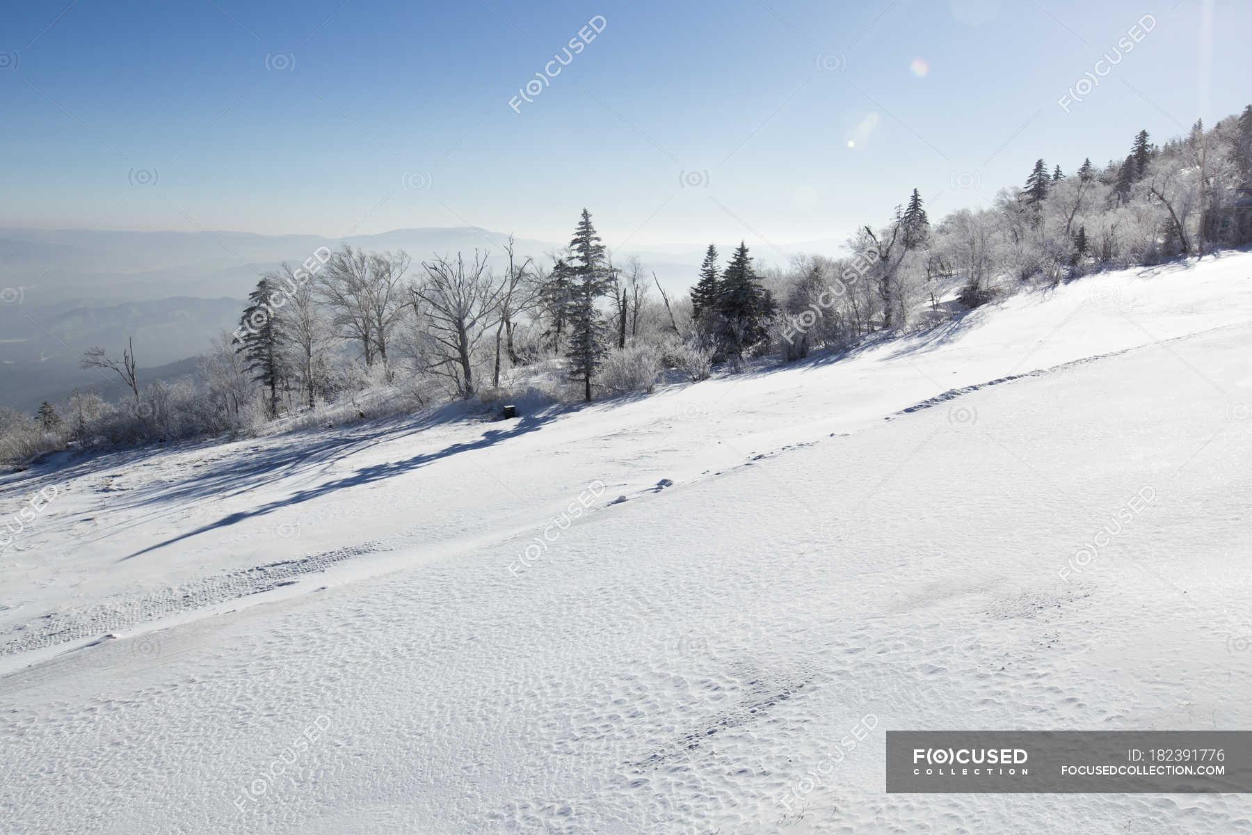 ski slope at winter resort in heilongjiang province, china