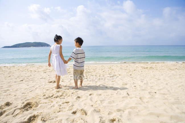 Vista traseira das crianças em pé na praia e de mãos dadas — Fotografia de Stock