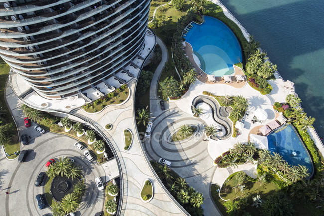 High angle view of hotel on Hainan Island, China — Stock Photo